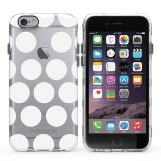 PureGear Slim Shell Series Carry Case for Apple iPhone 6/6s Plus CLEAR with WHITE DOTS