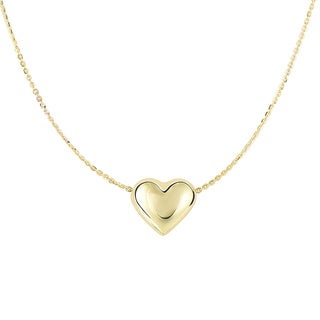 14k Shiny Yellow Gold Cable Chain Necklace with Sliding Puffed Heart Pendant and Lobster Clasp