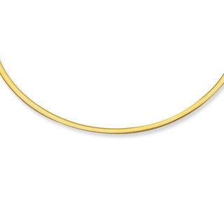 14k White and Yellow Gold Reversible Omega Necklace with Lobster Clasp
