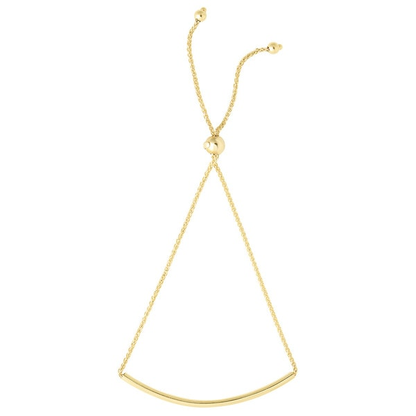 14k Yellow Gold Diamond Cut Round Wheat Bracelet with Arched Bar Center