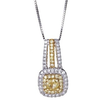 Anika and August 18k Two-tone Gold 1/2ct TDW Natural African Yellow Diamond Pendant
