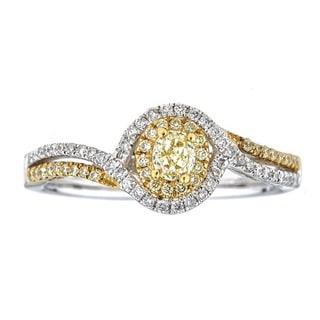 Anika and August 14k Two-tone Gold 1/2ct TDW Natural African Yellow Diamond Ring