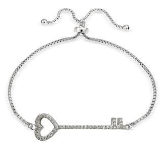 Icz Stonez Silver Cubic Zirconia Heart Key Adjustable Slider Bracelet|https://ak1.ostkcdn.com/images/products/11590089/P18530052.jpg?impolicy=medium