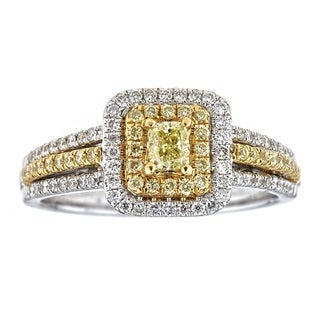 Anika and August 18k Two-tone Gold 4/5ct TDW Natural African Yellow Diamond Ring