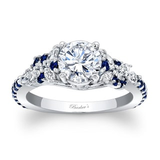 Barkev's Designer 14k White Gold 1 1/10ct TDW Diamond and Blue Sapphire Engagement Ring (Option: 6.75)