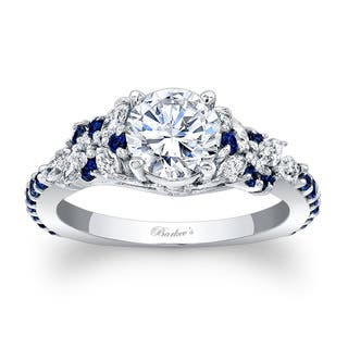 Barkev's Designer 14k White Gold 1 1/10ct TDW Diamond and Blue Sapphire Engagement Ring|https://ak1.ostkcdn.com/images/products/11590133/P18530061.jpg?impolicy=medium