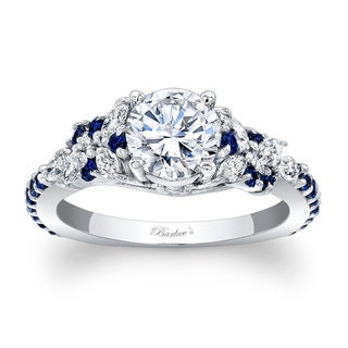 Barkev's Designer 14k White Gold 1 1/10ct TDW Diamond and Blue Sapphire Engagement Ring