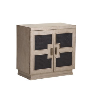 Burnished Silver Geometric Panel Door Chest