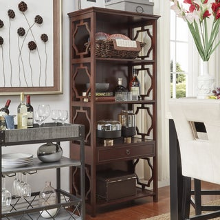 TRIBECCA HOME Manor Quatrefoils Lattice 1-Drawer Bookcase Shelving