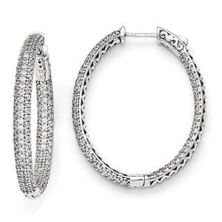 Versil Sterling Silver Pave Cubic Zirconia Earrings