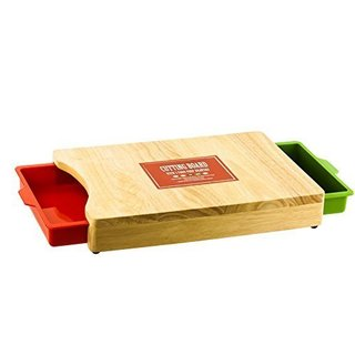 Kitchen Cutting Board with 2 Colored Pull Out Drawers