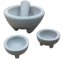IMUSA GKA-61019 Grey Granite Molcajete Guacamole 4-piece Set