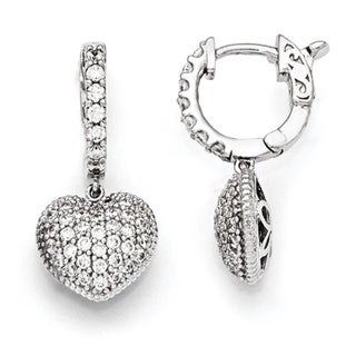 Sterling Silver Rhodium-plated Cubic Zirconia Hoop Dangle Heart Earrings by Versil