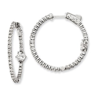 Versil Sterling Silver Cubic Zirconia Hoop Earrings