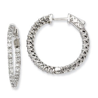 Versil Sterling Silver Cubic Zirconia 52-stones Round Hoop Earrings