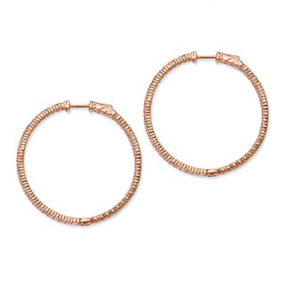 Versil Rose Gold over Silver Cubic Zirconia Hoop Earrings