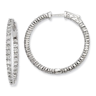 Versil Sterling Silver Cubic Zirconia 60 Stones Round Hoop Earrings