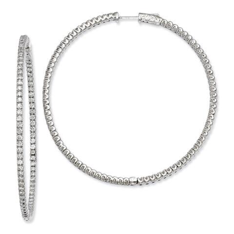 Versil Sterling Silver Cubic Zirconia Pave Hoop Earrings