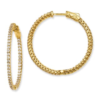 Versil Yellow Gold over Silver Cubic Zirconia Hinged Hoop Earrings