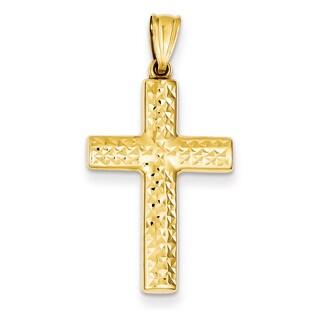 Versil 14k Yellow Gold Reversible Cross Pendant