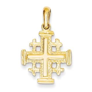 Versil 14k Yellow Gold Jerusalem Cross Silver Pendant