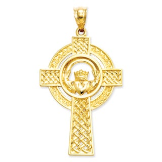 Versil 14k Yellow Gold Celtic Claddagh Cross Pendant