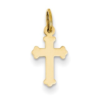 Versil 14 Karat Yellow Gold Mini Polished Cross Charm