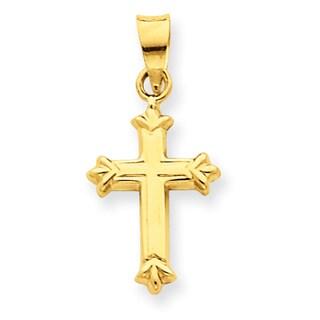 Versil 14 Karat Yellow Gold Fleur De Lis Hollow Cross Charm