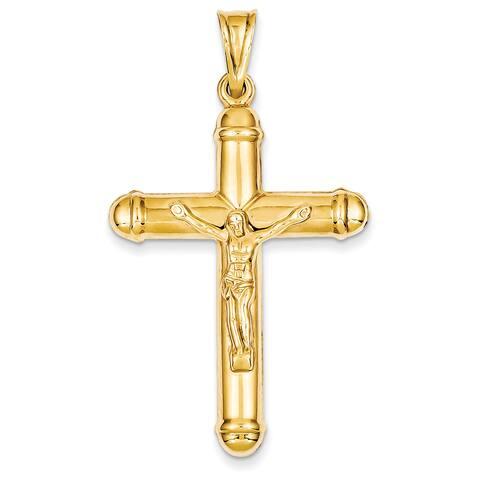 Versil 14 Karat YG Reversible Crucifix Cross Pend with 18-inch Chain