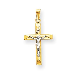 Versil 14 Karat Two-tone Gold INRI Hollow Crucifix Pendant with 18-inch Chain
