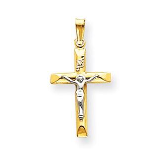 Versil 14 Karat Two-tone Gold INRI Hollow Crucifix Pendant with 18-inch Chain