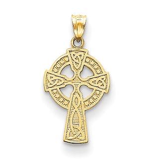 Versil 14k Yellow Gold Celtic Cross Pendant