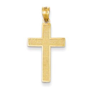 Versil 14 karat Yellow Gold Cross Pendant with 18-inch Chain