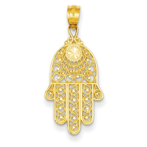 Versil 14 Karat Yellow Gold Hand of God Pendant