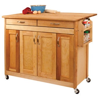 Butcher Block Island with Flat Panels and Drop Leaf