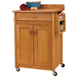 Deluxe Butcher Block Cart wtih Flat Panel Doors and Backsplash