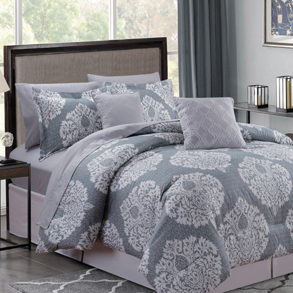Edward Grey 9 Piece Bed in a Bag Comforter Set