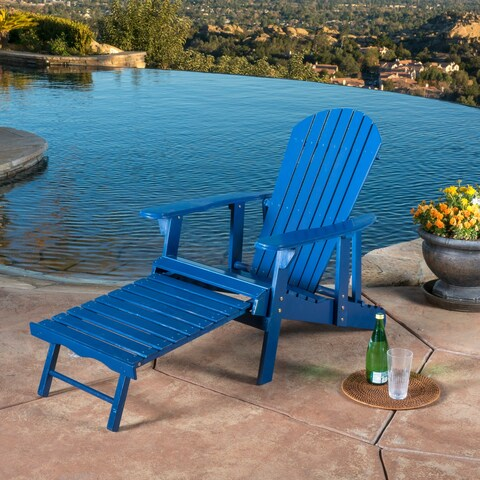 Hayle Outdoor Reclining Wood Adirondack Chair with Footrest (Set of 2) by Christopher Knight Home