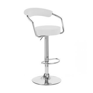 White Adjustable Faux Leather Bar Stool (Set of 4)