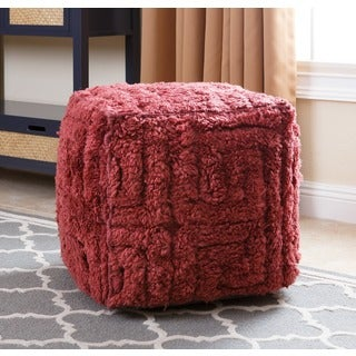 Abbyson Handmade Red Maven Geometric 18-inch Square New Zealand Wool Pouf