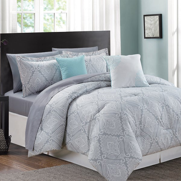 Aileen Aqua Printed 9-piece Bed in a Bag Comforter Set