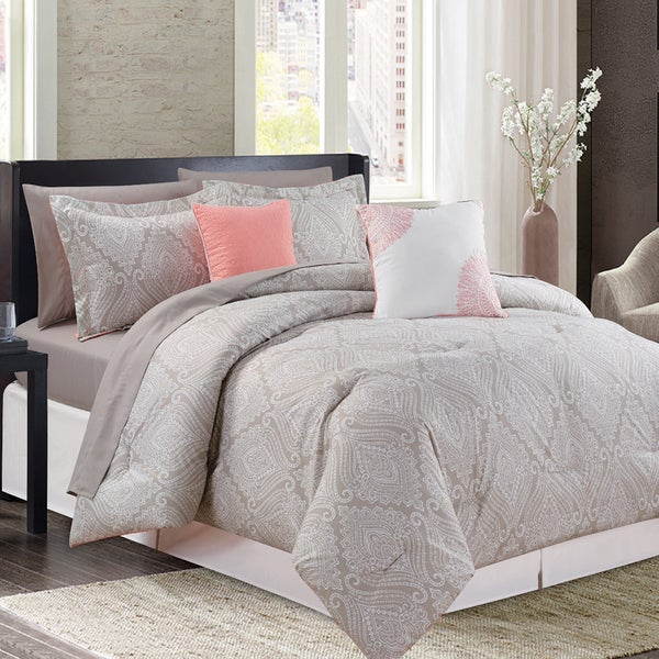 Aileen Coral 9-piece Printed Bed in a Bag Comforter Set