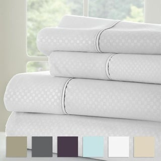 Merit Linens 4 Piece Premium Ultra Soft Checker Design Bed Sheet Set