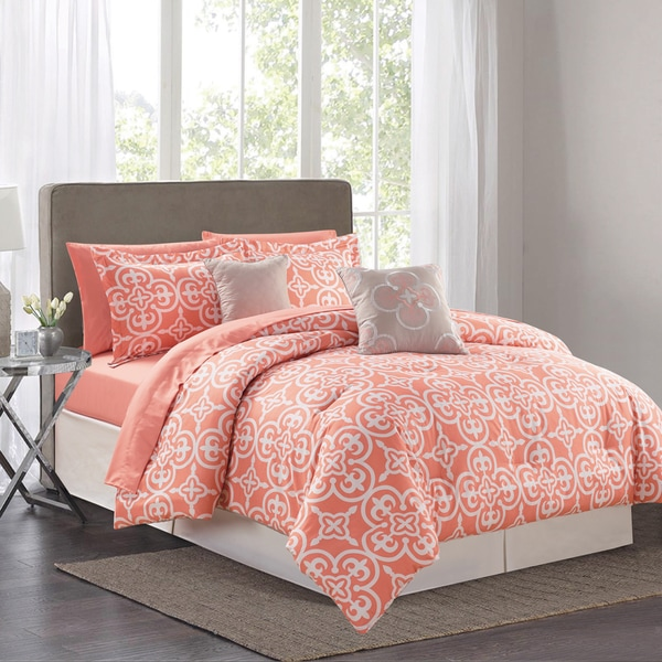 Pottia Coral 9-piece Queen Sized Bed in a Bag Comforter Set