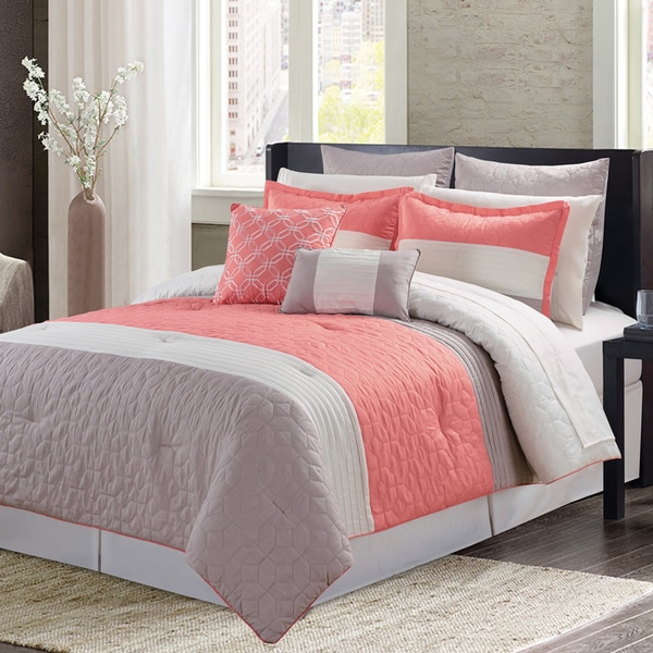 Bay Shore Coral 11 Piece Bed in a Bag Comforter Set