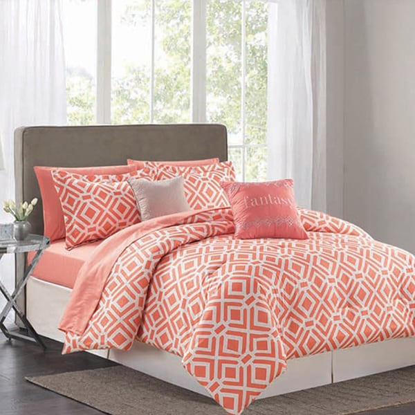 Cumberland Coral 9 Piece Printed  Bed in a Bag Comforter Set