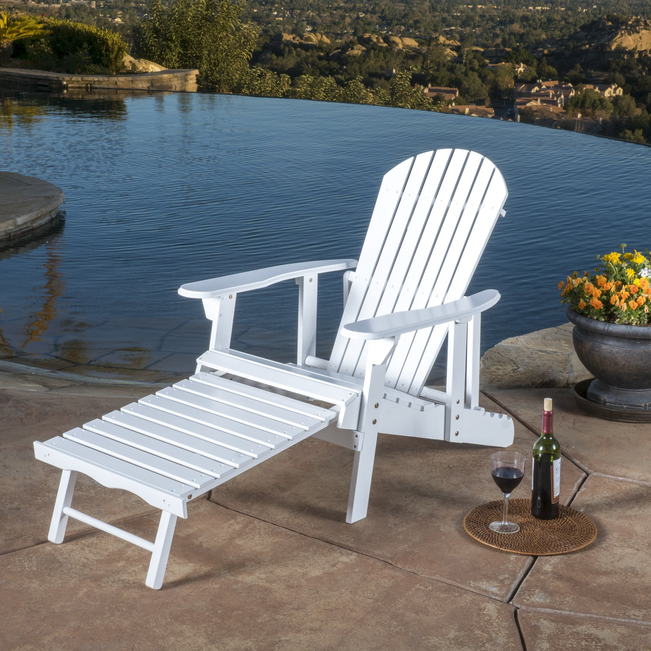Hayle Outdoor Reclining Wood Adirondack Chair with Footre...