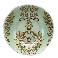 Turquoise and Gold Damask Bowl