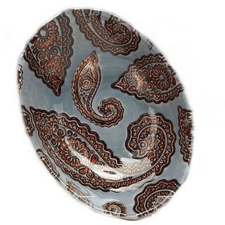 Slate Blue and Copper Paisley Print Decorative Bowl
