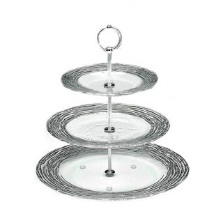 Magara Silver Leafed Glass 3 Tier Serving Tray